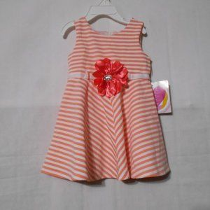 YOUNGLAND NEW Girls Size 2T Striped White & Coral
